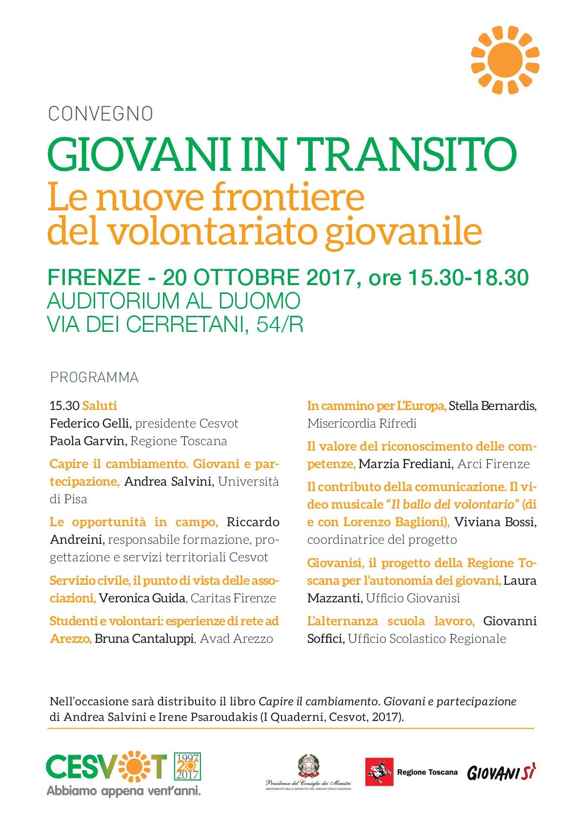Cesvot convegno GIOVANI IN TRANSITO programma