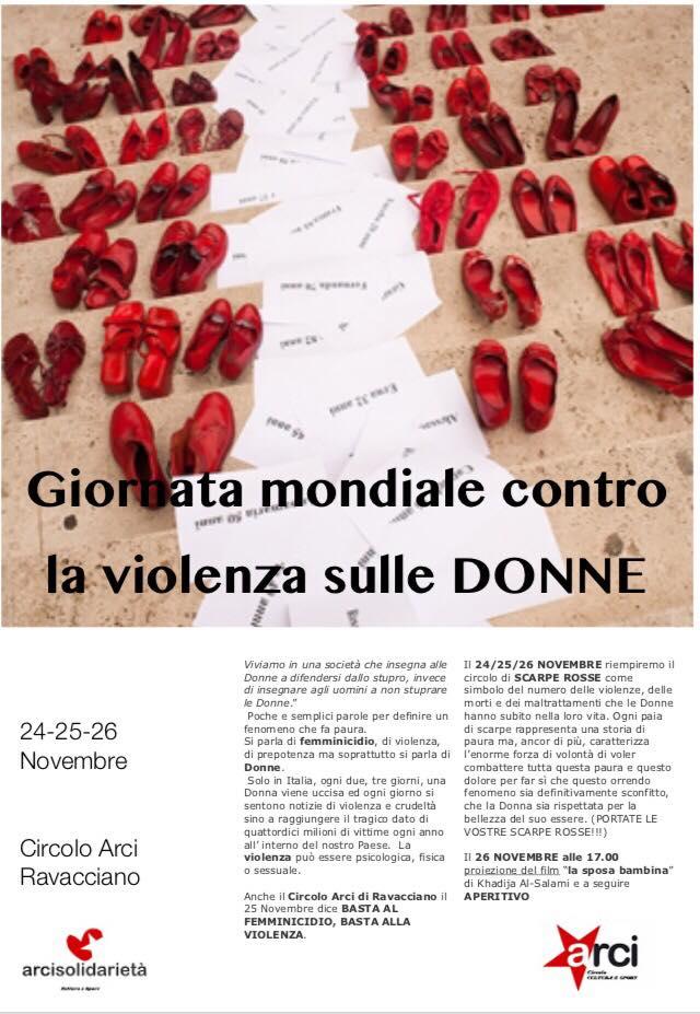 giornata mondiale contro la violenza sulle donne al circolo arci di ravacciano programma