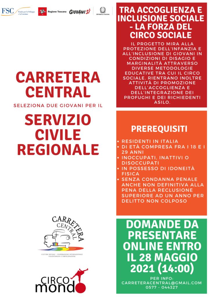 carretera central - servizio civile regionale volantino